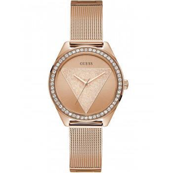 GUESS Ladies Crystals - W1142L4 , Rose Gold case with Stainless Steel Bracelet