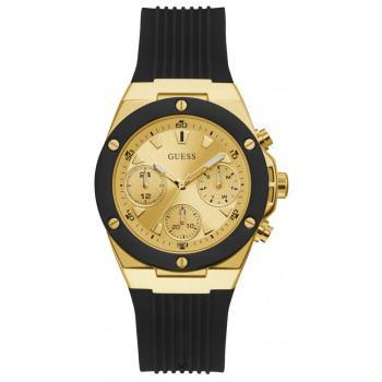 GUESS Multifunction  Ladies - GW0030L2,  Gold case with Black  Rubber Strap