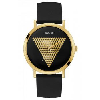 GUESS Ladies - W1161G1, Gold case with Black Rubber Strap