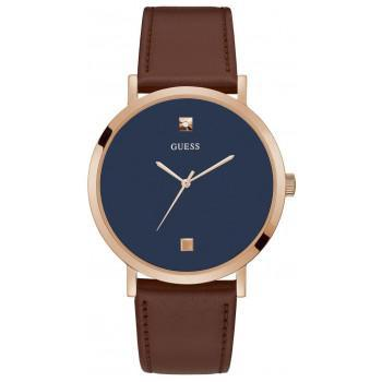 GUESS Men's - GW0009G2,  Rose Gold case with Brown Leather Strap