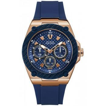 GUESS  Men's - W1049G2 , Rose Gold case with Blue Rubber Strap