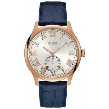 GUESS Men's - W1075G5,  Rose Gold case with Blue Leather Strap