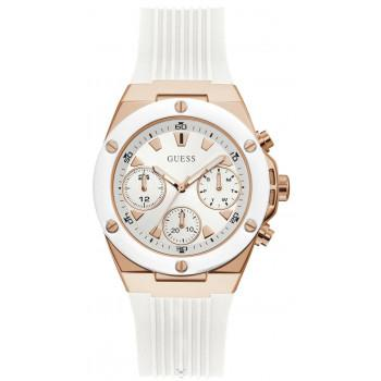 GUESS Multifunction  Ladies - GW0030L3,  Rose Gold case with White Rubber Strap