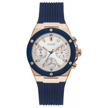 GUESS Multifunction  Ladies - GW0030L5,  Rose Gold case with Blue  Rubber Strap