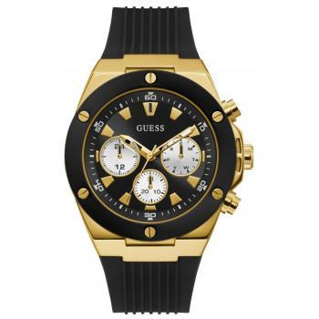GUESS Multifunction Mens - GW0057G1,  Gold case with Black  Rubber Strap