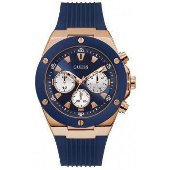 GUESS Multifunction Mens - GW0057G2,  Rose Gold case with Blue Rubber Strap