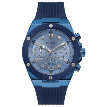 GUESS Multifunction Mens - GW0057G3,  Blue case with Blue Rubber Strap