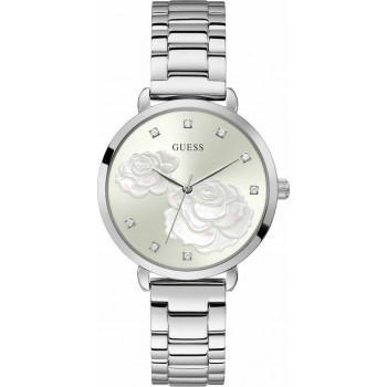 GUESS Sparkling Rose Crystals - GW0242L1 , Silver  case with Stainless Steel Bracelet