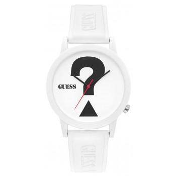 GUESS Unisex - V1041M1,  White case with White Rubber Strap
