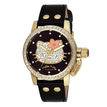 HELLO KITTY by Jetset - JHK128-247S,  Gold case with Black Leather Strap