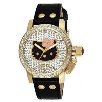 HELLO KITTY by Jetset - JHK128-647,  Gold case with Black Leather Strap