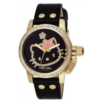 HELLO KITTY by Jetset - JHK148-257,  Gold case with Black Leather Strap