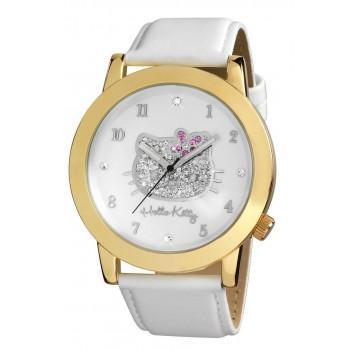HELLO KITTY - HK1558-161 Gold Case, with White Leather Strap