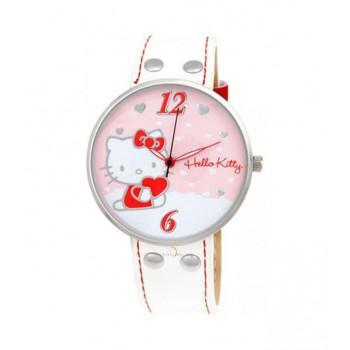 HELLO KITTY - HK9004-561 Silver Case, with White Leather Strap