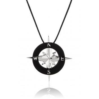 HONOR Pendant Compass Black Silver Κολιέ από ορείχαλκο HONORP83