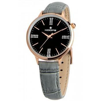 HOOPS Classic Chic Crystals  - 2609LDRG04  Rose Gold case with Grey Leather Strap