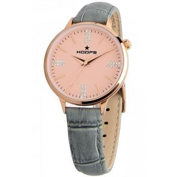 HOOPS Classic Chic Crystals  - 2609LDRG07  Rose Gold case with Grey Leather Strap