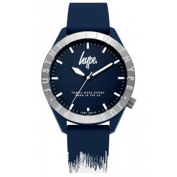 HYPE Unisex - HYG006UW,  Blue case with Blue & White Rubber Strap