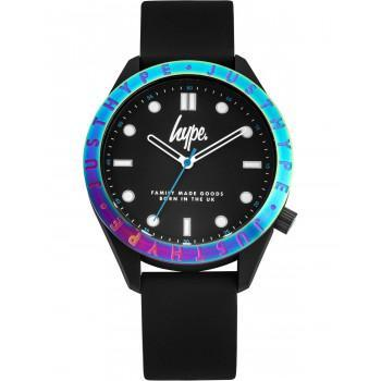HYPE Unisex - HYG014B,  Black case with Black  Rubber Strap