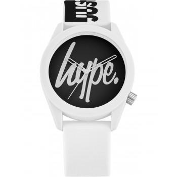 HYPE Unisex - HYU026BW,  White case with White Rubber Strap