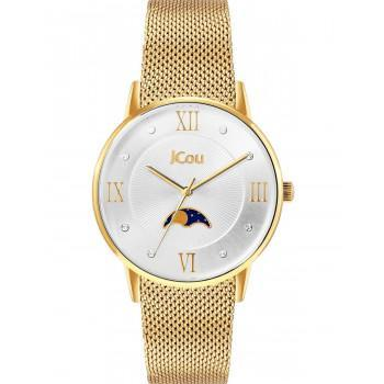 JCOU Cynthia Crystals - JU19007-2, Gold case with Stainless Steel Bracelet
