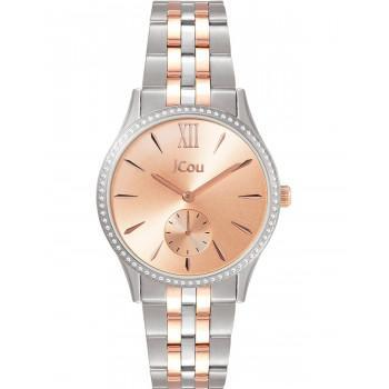 JCOU Estelle Crystals - JU19035-1, Silver case with Stainless Steel Bracelet