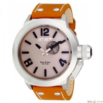JET SET San Remo - J11423-066 Silver case, with Orange Leather Strap