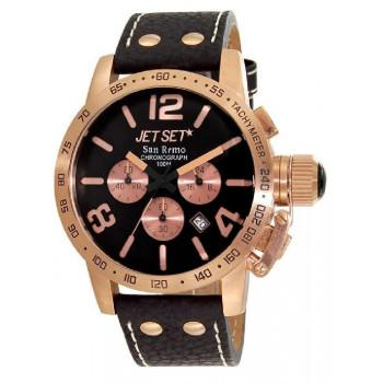 JET SET San Remo - J8358R-237 Rosegold case, with Black Leather Strap