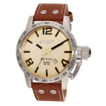JET SET San Remo - J84583-736 Silver case, with Brown Leather Strap