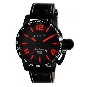 JET SET San Remo - J8458B-537 Black case, with Black Leather Strap