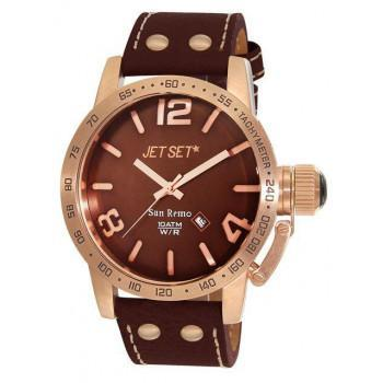 JET SET San Remo - J8458R-736 Rosegold case, with Brown Leather Strap