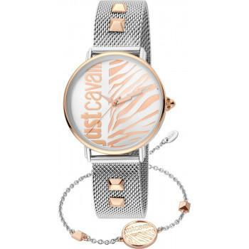 Just CAVALLI Animalier Gift Set- JC1L077M0105  Silver case with Stainless Steel Bracelet