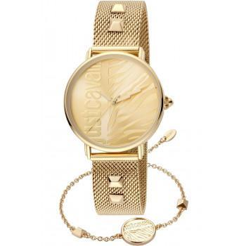 Just CAVALLI Animalier Gift Set- JC1L077M0075  Gold case with Stainless Steel Bracelet
