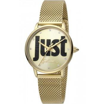 Just CAVALLI Logo Crystals - JC1L116M0065  Gold case with Stainless Steel Bracelet