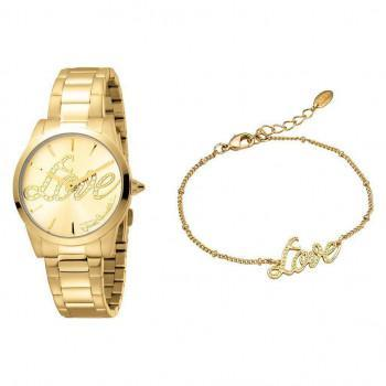 Just CAVALLI Relaxed Gift Set - JC1L010M0245  Gold case with Stainless Steel Bracelet