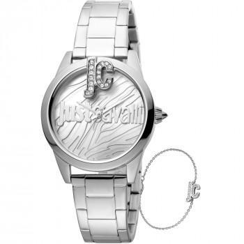 Just CAVALLI Trama Gift Set - JC1L099M0055,  Silver case with Stainless Steel Bracelet