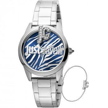 Just CAVALLI Trama Gift Set - JC1L099M0065,  Silver case with Stainless Steel Bracelet