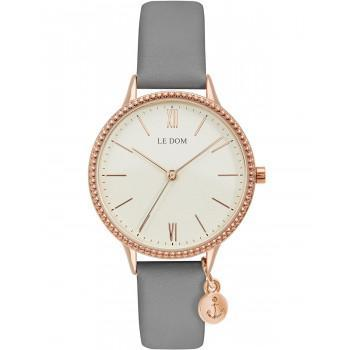 LE DOM Anchor Lady - LD.1261-1, Rose Gold case with Grey Leather Strap
