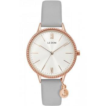LE DOM Anchor Lady - LD.1261-2, Rose Gold case with Grey Leather Strap