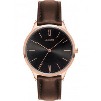 LE DOM Classic Lady - LD.1000-10, Rose Gold case with Brown Leather Strap