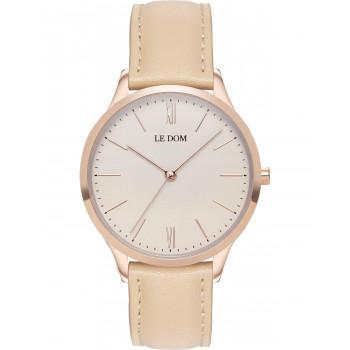 LE DOM Classic Lady - LD.1000-19, Rose Gold case with Beige Leather Strap
