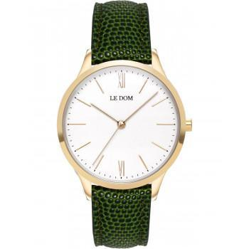 LE DOM Classic Lady - LD.1000-22,  Gold case with Green Leather Strap