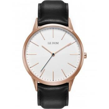 LE DOM Classic - LD.1001-14  Rose Gold case with Black Leather Strap