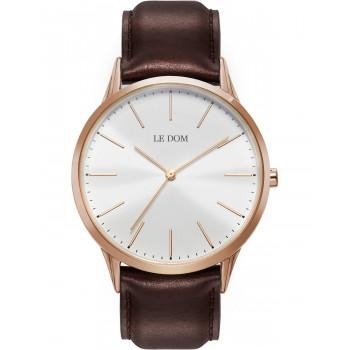 LE DOM Classic - LD.1001-15  Rose Gold case with Brown Leather Strap