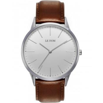 LE DOM Classic - LD.1001-16, Silver case with Brown Leather Strap