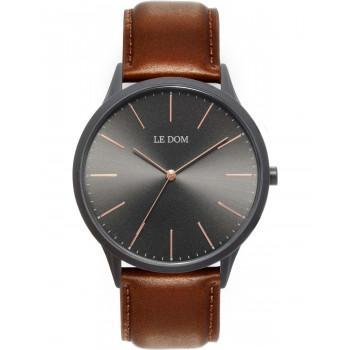 LE DOM Classic - LD.1001-3, Black case with Brown Leather Strap
