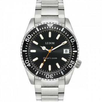 LE DOM Diver's - LD.1490-7, Silver case with Stainless Steel Bracelet