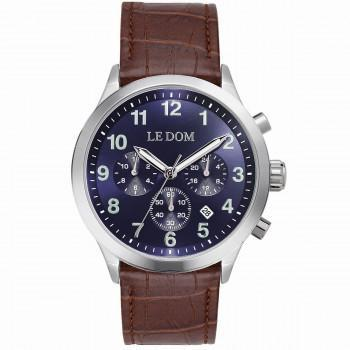 LE DOM Patrol - LD.1106-5, Silver case with Brown Leather Strap