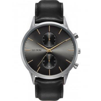 LE DOM Prime Chronograph - LD.1002-1, Silver case with Brown Leather Strap