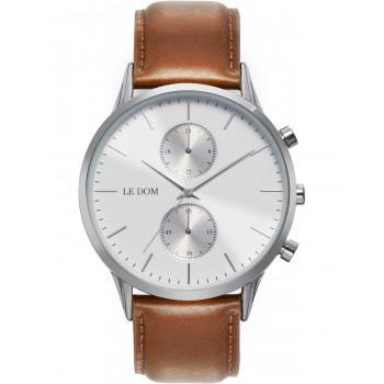 LE DOM Prime Chronograph - LD.1002-13, Silver case with Brown Leather Strap